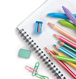 Fournitures scolaires d'isolement Photos stock