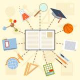 Fournitures scolaires et outils autour du livre sur a Photos libres de droits