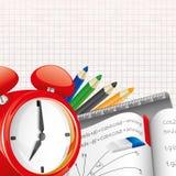 Fournitures scolaires et papier de section. Image stock