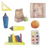 fournitures scolaires réglées Photos stock