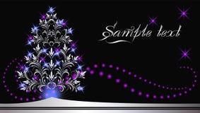 Fourrure-arbre argenté de Noël Images libres de droits