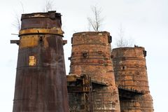 Fours à chaux dans Kladno, République Tchèque, monument culturel national Photos stock