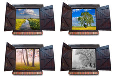 Fours seasons viewed through the windows royalty free stock photography