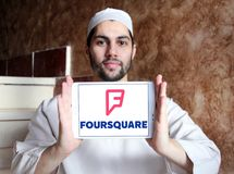 Foursquare app embleem royalty-vrije stock foto