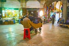 Foursquare zaal van de Grote Bazaar van Kerman, Iran royalty-vrije stock afbeelding