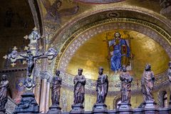 Detail: Portion of Gothic Iconostases in Presbytery of St. Mark`s Basilica in Venice. Stock Photos