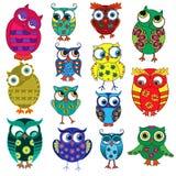 Fourteen cartoon funny owls Royalty Free Stock Photo