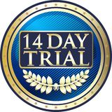 Fourteen Day Trial Luxury Gold Label Icon. Fourteen day trial luxury gold label with a laurel wreath and stars stock illustration
