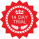 Fourteen Day Trial Luxury Red Badge Icon. Fourteen day trial luxury red badge with a laurel wreath and a crown stock illustration