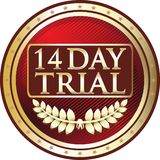 Fourteen Day Trial Luxury Red Emblem Icon. Fourteen day trial luxury red emblem with a laurel wreath and stars royalty free illustration