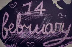 Fourteen fabruary written on the chalk board. 14 fabruary written on the chalk board. Happy Valentines Day. St. Valentine's Day theme. Toned effect vector illustration