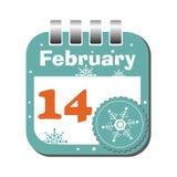 Fourteen February. Isolated calendar sheet for the day of fourteen February vector illustration