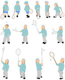 Fourteen figures of vector kid playing badminton. 14 figures of vector kid playing badminton royalty free illustration