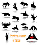 Fourteen gestures of hands Royalty Free Stock Photo