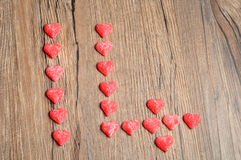 Fourteen made out of sugarcoated heart shape candy Royalty Free Stock Image
