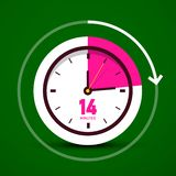 Fourteen 14 Minutes Vector Analog Stopwatch Clock Icon. Time Counter Symbol royalty free illustration