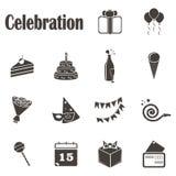 Fourteen monochrome icons Celebration. Objects that symbolize the celebration stock illustration