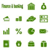 Fourteen monochrome icons Finance & banking Stock Photography