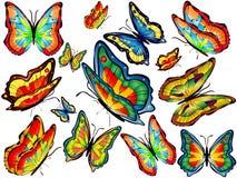 Fourteen multicolored butterflies. Fourteen flying multicolored butterflies of different sizes Royalty Free Stock Photos