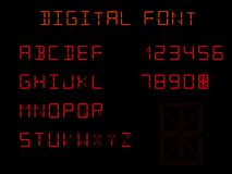 Fourteen Segment Indicators, Digital Font. Letters and numbers royalty free illustration
