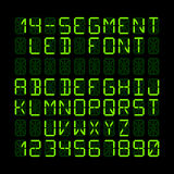 Fourteen segment LED display font. Fourteen segment LED display letters and numerals Stock Photos