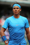 Fourteen times Grand Slam champion Rafael Nadal in action during his second round match at Roland Garros 2015 Stock Images