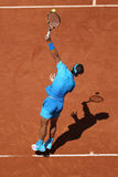 Fourteen times Grand Slam champion Rafael Nadal in action during his third round match at Roland Garros 2015 Royalty Free Stock Images