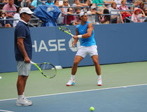 Fourteen times Grand Slam Champion Rafael Nadal of Spain with his coach Tony Nadal practices for US Open 2016 Stock Photos