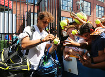 Fourteen times Grand Slam champion Rafael Nadal of Spain signing autographs after practice for US Open 2015 Royalty Free Stock Images