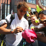 Fourteen times Grand Slam champion Rafael Nadal of Spain signing autographs after practice for US Open 2015 Stock Photos