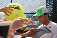 Fourteen times Grand Slam champion Rafael Nadal of Spain signing autographs after practice for US Open 2015 Stock Images