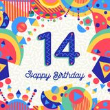 Fourteen 14 year birthday greeting card number. Happy Birthday fourteen 14 year fun design with number, text label and colorful decoration. Ideal for party vector illustration