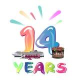 Fourteen years anniversary celebration. On white background royalty free illustration