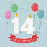 Fourteen years anniversary greeting card with candles. Confetti and balloons stock illustration