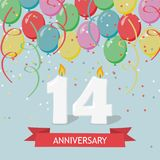 Fourteen years anniversary greeting card with candles. Confetti and balloons royalty free illustration