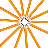 Fourteen yellow pencils Stock Images