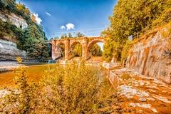 Fourteenth century bridge in masonry Royalty Free Stock Images