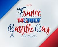 Fourteenth of July, Bastille day, Celebration of France. Holiday design, background with handwriting and 3d texts and Eiffel tower shape on national flag colors royalty free illustration