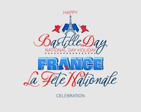 Fourteenth of July, Bastille day, Celebration of France. Holiday design, background with handwriting and 3d texts and Eiffel tower shape on national flag colors stock illustration