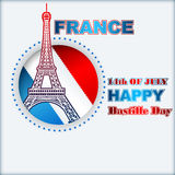 Fourteenth of July, Bastille Day of France, background with Eiffel Tower Royalty Free Stock Image