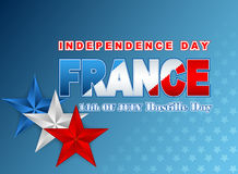 Fourteenth July National Celebration of France, background with blue, white and red stars Royalty Free Stock Photo