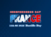 Fourteenth July National Celebration of France, background with grunge, brush texture on national flag colors Stock Photo