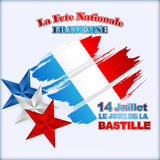Fourteenth July National Celebration of France background with stars in national flag colors Royalty Free Stock Images