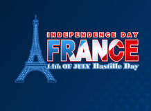 Fourteenth July National Celebration of France with shapes of Eiffel tower Royalty Free Stock Image