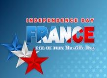 Fourteenth Lipa Krajowy świętowanie Francja, tło z błękita, bielu i czerwieni gwiazdami, ilustracja wektor