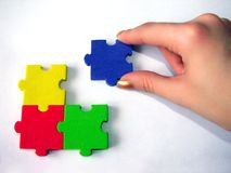 Fourth. Colorful puzzle game on white backdrop Stock Photography