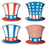 Fourth American hat 4th of July usa flag vector. Fourth American hat, 4th of July usa flag vector clip art set Stock Photography