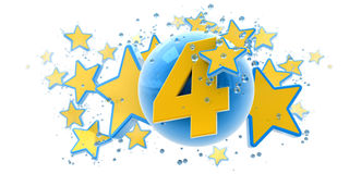 Fourth anniversary blue and yellow Royalty Free Stock Photo