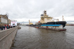 Fourth Annual Icebreaker Festival in St. Petersburg. Two icebreakers off the English pier Royalty Free Stock Images