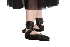 The fourth ballet position. (in black pointes on a white background Royalty Free Stock Image